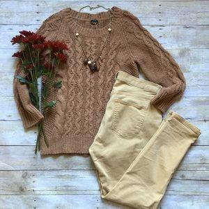 J. Crew caramel fisherman sweater